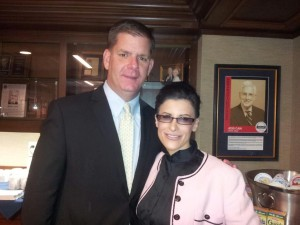 Lynn Julian, Boston Actress and musician, with soon to be Boston Mayor, Marty Walsh