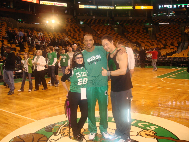 Lynn Julian, Boston Actress, Center Court with Avery Bradley of the Boston Celtics.
