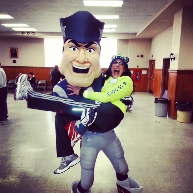 Lynn Julian, Boston Actress, with Pat Patriot, mascot of the New England Patriots.
