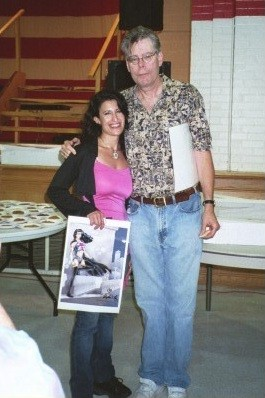 Lynn Julian, Boston Actress, Pop Superhero and writer, with horror novelist, Stephen King.