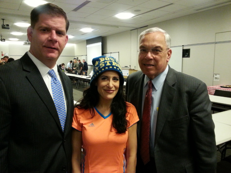 Lynn Julian, Boston Actress and musician, with Boston Mayor, Thomas Menino, and Boston Mayor, Marty Walsh